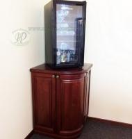 тумба для холодильника из натурального дерева с декором
